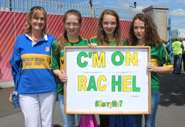 Eileen Ashe, Emer O'Connor, Ellen Ashe and Emma McCarthy supporting Rachel O'Connor in the Primary Go Games at half-time in the Tipperary v Kerry match on Sunday. Photo by Dermot Crean