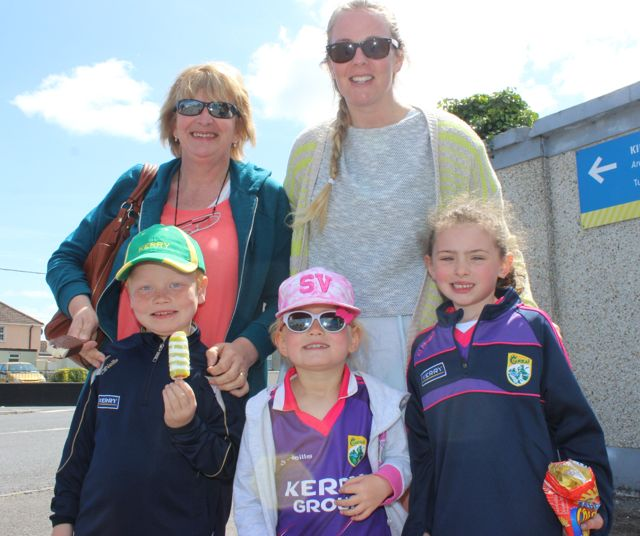In front; Eoghan and Abby Crowley with Keelin Clifford. At back; Siobhan and Carolyn O'Mahony in Thurles for the Tipperary v Kerry match on Sunday. Photo by Dermot Crean