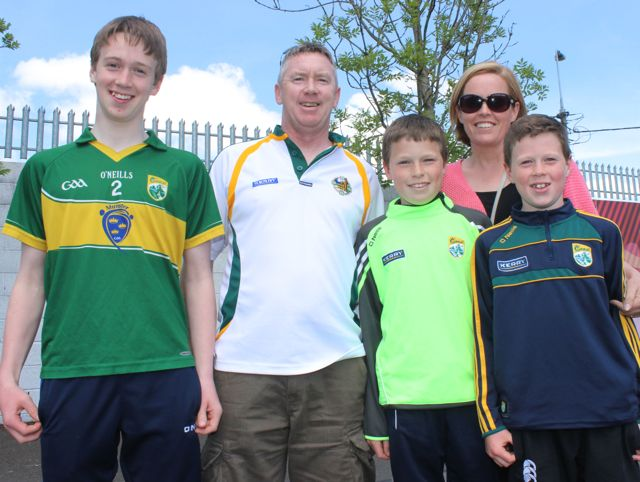 Fionnán, Diarmaid, Conor, Daithí and Gráinne Toomey, Ballybunion,  in Thurles for the Tipperary v Kerry match on Sunday. Photo by Dermot Crean