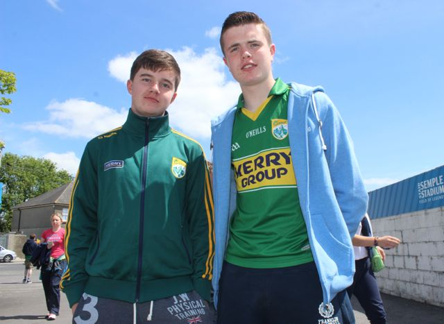 Cillian O'Connor and Patrick Moriarty in Thurles for the Tipperary v Kerry match on Sunday. Photo by Dermot Crean