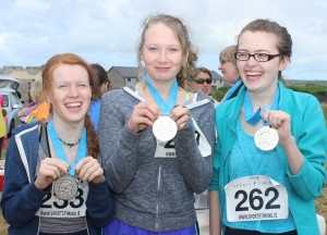At the Blennervile National School 5k/10k Road Race, were from left: Maire Adams, YvetteDaly and Niamh Furlong. Photo by Gavin O'Connor.