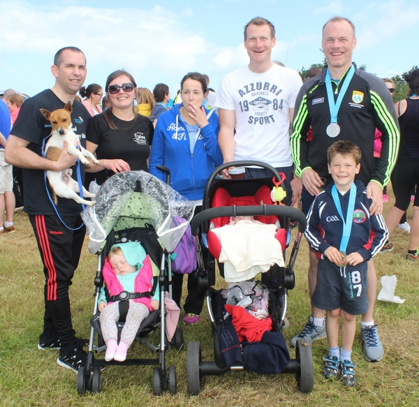 At the Blennervile National School 5k/10k Road Race, were from left, front: Mary Kate O'Shea and Anna Poff. Back: Kieran O'Shea, Julie O'Shea, Sharon Poff, Liam Poff, James Costello and Jack Costello. Photo by Gavin O'Connor.