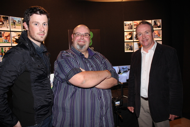 At the IT Tralee Post Graduate Exhibition on in the Ashe Memorial Hall were, from left: Brian O'Connor, Justin Flynn and Alan Cantwell. Photo by Gavin O'Connor.