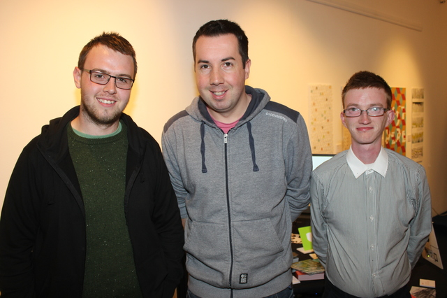 At the IT Tralee Post Graduate Exhibition on in the Ashe Memorial Hall were, from left: Ryan Higgins, John Fitzgearld and John Ryan. Photo by Gavin O'Connor.