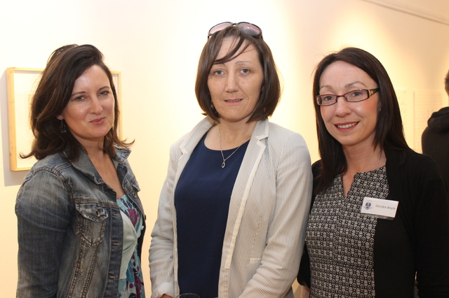 At the IT Tralee Post Graduate Exhibition on in the Ashe Memorial Hall were, from left: Sheila O'Mahony, Maria Clifford and Deirdre Boyle. Photo by Gavin O'Connor.