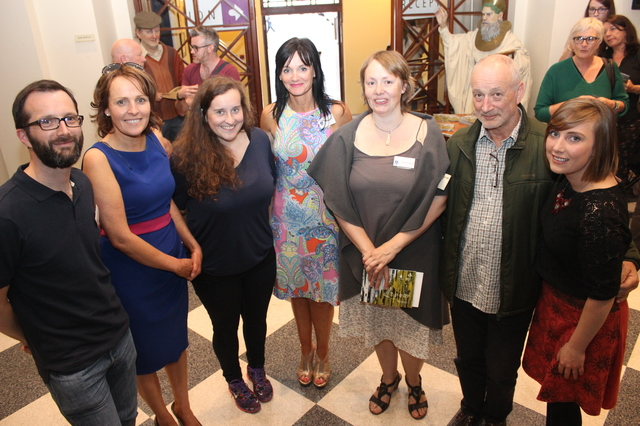 At the IT Tralee Post Graduate Exhibition on in the Ashe Memorial Hall were, from left: Philip Doyle, Sandra Leahy, Gemma O'Connell, Mary Lucey, Lisa McElligott, Des Doyle and Amy Smith. Photo by Gavin O'Connor.