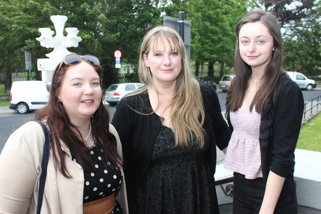 At the IT Tralee Post Graduate Exhibition on in the Ashe Memorial Hall were, from left: Edele Leen, Siobhan Murphy and Danielle Swanson. Photo by Gavin O'Connor.