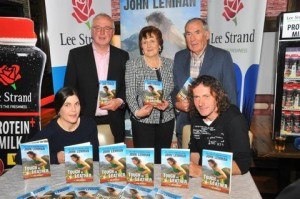 """Pictured at the launch of """"Tough as Leather"""", the John Lenihan story written by journalist Con Dennehy at the launch in Gallys Tralee on Friday night. Front L/r: Clare O'Leary and John Lenihan. Back L/r: Con Dennehy, Margaret Dennehy and Weeshie Fogarty."""