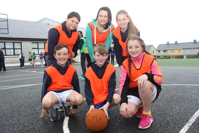 At the Gaelscoil Mhic Easmainn basketball blitz were, from left: Graham Macsithigh, Muiris O Conaill, Heather Nic Conmara, Marek Mirgda, Tatianna Piwowarczyk and Kate Ni Thuinni. Photo by Gavin O'Connor.