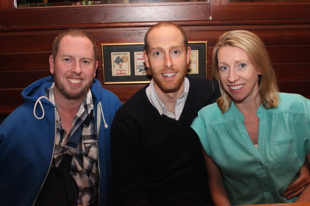 At the cahrity table quiz in aid of CROSS  charity and cancer research were from left: Evan Healy, Mark Healy, Michelle Frost. Photo by Gavin O'Connor.