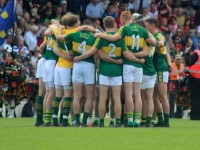 The Kerry team huddle before throw-in of the drawn match against Cork in Killarney on Sunday. Photo by Gavin O'Connor.