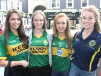 Leonie O'Connor, Sarah Cooper, Tralee, Laoise McElligott, Ardfert, and Aoife Crowley, The Spa, in Killarney for the Kerry v Cork Munster Final replay on Saturday. Photo by Dermot Crean
