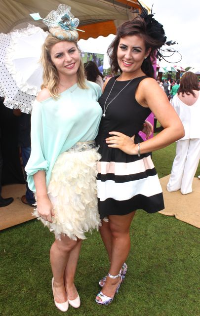 Rebecca O'Reilly, Newry and Dearbhla Quinn, Dublin, at the Dawn Dairies Ladies Day at Killarney Racecourse on Thursday. Photo by Dermot Crean