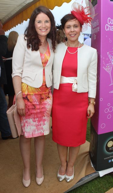 Kathleen O'Mahony and Catherine Sheehy, Kilbrittain, at the Dawn Dairies Ladies Day at Killarney Racecourse on Thursday. Photo by Dermot Crean