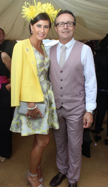 Moira and Damian Greer, Tralee, at the Dawn Dairies Ladies Day at Killarney Racecourse on Thursday. Photo by Dermot Crean