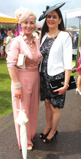 Orlaith Griffin and Madeleine McCarthy, Tralee, at the Dawn Dairies Ladies Day at Killarney Racecourse on Thursday. Photo by Dermot Crean