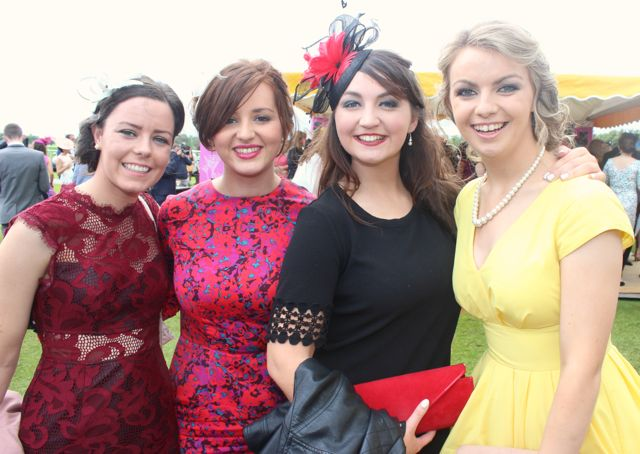 Ciara O'Connor, Brid Stackpoole, Abbeyfeale, Trish Murray and Caoimhe Dineen, West Cork at the Dawn Dairies Ladies Day at Killarney Racecourse on Thursday. Photo by Dermot Crean