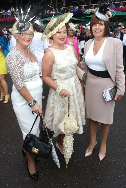 Phil Murphy, Sandra Murphy and Liz O'Sullivan, Cork city, at the Dawn Dairies Ladies Day at Killarney Racecourse on Thursday. Photo by Dermot Crean