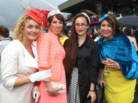 Siobhan Fitzgerald, Knoknagoshel, Aine Wall, Derrymore, Rachel Walsh, Ballyheigue and Ciara O'Connor, Tralee, at the Dawn Dairies Ladies Day at Killarney Racecourse on Thursday. Photo by Dermot Crean