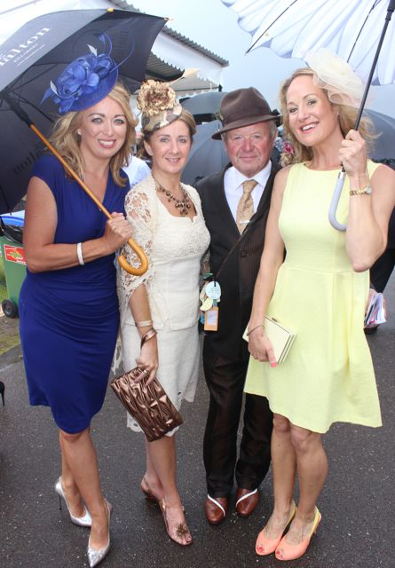 Sandra Fitzmaurice, Tralee, Margaret O'Regan, Sean O'Donoghue and Orla Healy, Killarney at the Dawn Dairies Ladies Day at Killarney Racecourse on Thursday. Photo by Dermot Crean