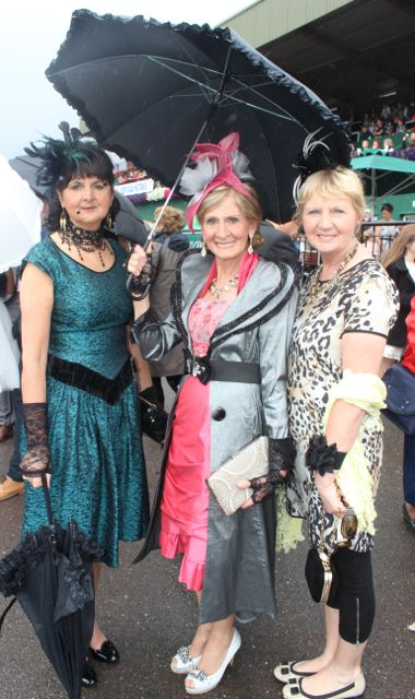 Teresa Delius, Emily Murphy and Marian Britton all from Cobh at the Dawn Dairies Ladies Day at Killarney Racecourse on Thursday. Photo by Dermot Crean