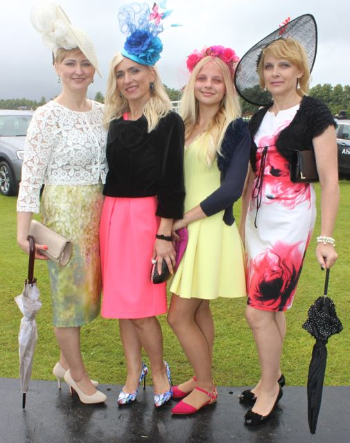 Four stylish ladies at the Dawn Dairies Ladies Day at Killarney Racecourse on Thursday. Photo by Dermot Crean
