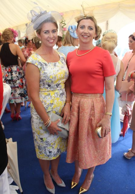 Deirdre Knowles and Una McCarthy, Clonakilty, at the Dawn Dairies Ladies Day at Killarney Racecourse on Thursday. Photo by Dermot Crean