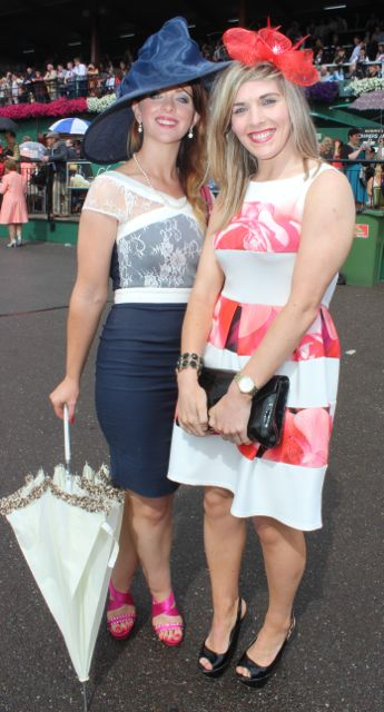 Marie Vaughan and Claire Ambrose, Macroom, at the Dawn Dairies Ladies Day at Killarney Racecourse on Thursday. Photo by Dermot Crean