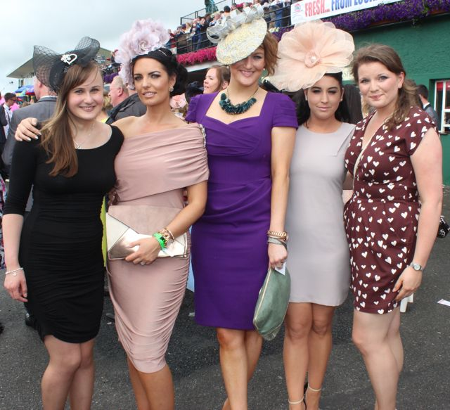 Magda, Annette Clifford, Elaine Howard, Vicky O'Regan and Monika Wlodarska, wearing Shirley Clifford headpieces at the Dawn Dairies Ladies Day at Killarney Racecourse on Thursday. Photo by Dermot Crean