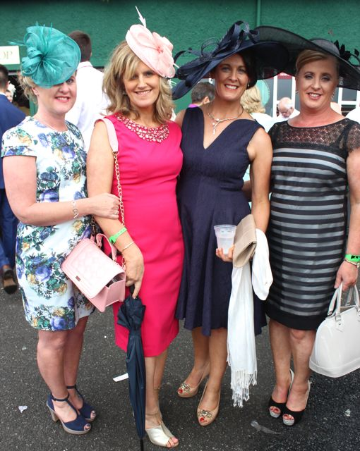 Mary O'Connor, Muckross, Sheila Daly, Crosstown, Trish Daly, Muckross and Eileen Daly, Muckross, at the Dawn Dairies Ladies Day at Killarney Racecourse on Thursday. Photo by Dermot Crean