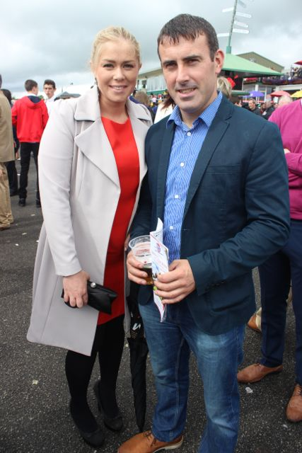Kelly Ann and John O'Connor, Tralee at the Dawn Dairies Ladies Day at Killarney Racecourse on Thursday. Photo by Dermot Crean