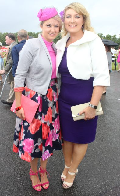 Gemma and Ellen Doyle, Beaufort, at the Dawn Dairies Ladies Day at Killarney Racecourse on Thursday. Photo by Dermot Crean