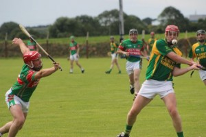 Kilmoyley's, Sean Maunsell, gets a shot on goal. Photo by Dermot Crean..