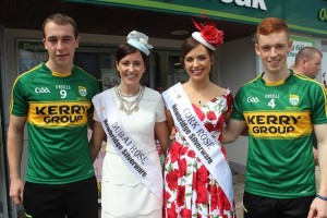 At the launch were Kerry minor players Andrew Barry (Na Geail) and Jack Morgan (Austin Stacks) with the Dubai Rose, Marie Ryan and the Cork Rose Aoife Murphy. Photo by Gavin O'Connor.