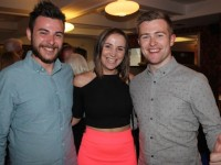 Cathal Flaherty, Eve O'Donoghue and Brendan Fuller at the Radio Kerry Staff Summer BBQ at The Courtyard in Benners Hotel on Friday night. Photo by Dermot Crean