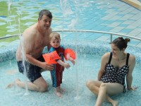 Enjoying the Aquadome were, Nick and Katie Carney with their son Liam, from Tullamore. Photo by Gavin O'Connor.