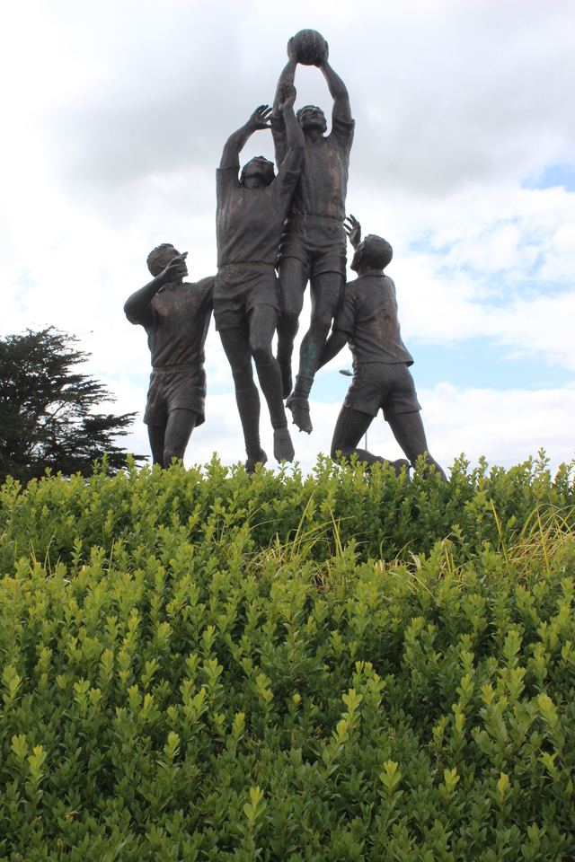 The Kerry footballer statue on the Mile Height roundabout. Photo by Gavin O'Connor.