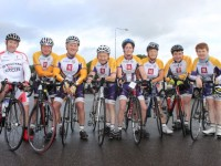 Tom Gentleman, Pat Keohane, Tom Crowley, John Murray, Siobhan Clear, Jennifer Crowley, Donal Browne and Brenda Crowley, who took part in the Na Gaeil GAA Club cycle on Saturday morning. Photo by Dermot Crean