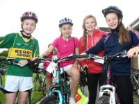 Ciara Rath, Sarah Barrett, Freya O'Connor and Caragh O'Neill, who took part in the Na Gaeil GAA Club cycle on Saturday morning. Photo by Dermot Crean