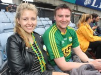 Tara Ní Mhóráin, Dundalk and Micheál Ó Leidhin, Ballinskelligs, in Croke Park on Sunday. Photo by Dermot Crean