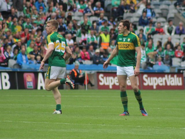 Two Strand Road men, Tommy Walsh and david Moran paired up at the end of the match. Photo by Dermot Crean.