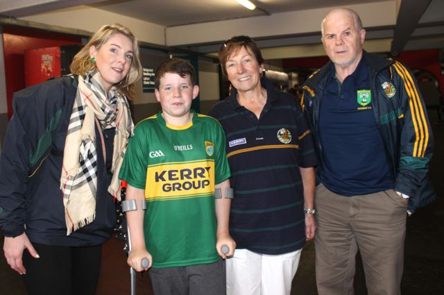 Deirdre O'Connor, Conor Greaney and Sheila and Tom O'Connor from Cloghane at Croke Park for the Kerry matches on Sunday. Photo by Dermot Crean