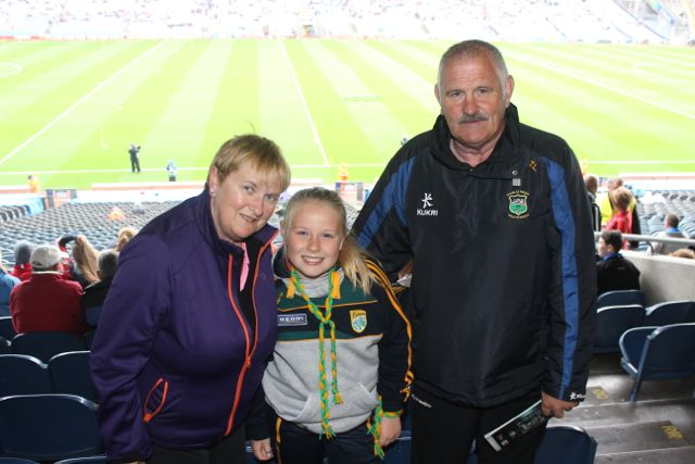 Siobhan Landers, Miah Landers Commane and Tommy Landers, Tralee, at Croke Park for the Kerry matches on Sunday. Photo by Dermot Crean