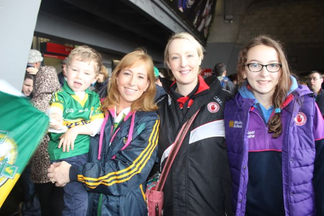Sé McElhatton with mum Majella from Ballinskelligs with Annete and Shania McElhatton from Tyrone at Croke Park for the Kerry matches on Sunday. Photo by Dermot Crean