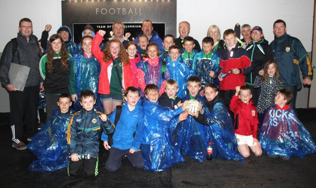 A group of Churchill Under 12s and mentors at Croke Park for the Kerry matches on Sunday. Photo by Dermot Crean