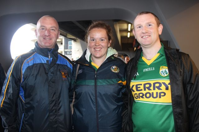 Neilus O'Connor, Orla and Padraig O'Connell, Tralee, at Croke Park for the Kerry matches on Sunday. Photo by Dermot Crean