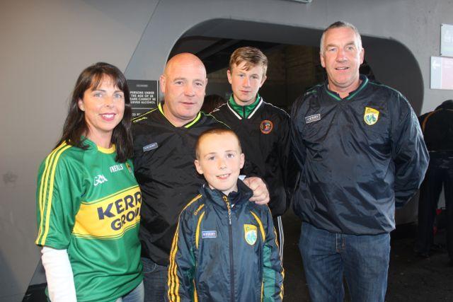 Mary Kelly, Brendan Kelly, Ronan Kelly, Noel Dolan and Jack Dolan, at Croke Park for the Kerry matches on Sunday. Photo by Dermot Crean