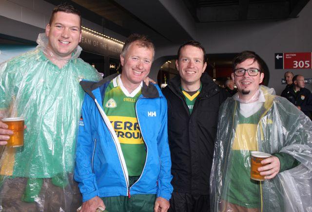Ballybunion lads, Brendan Brennan, Thomas McEnery, Shane Phelan and Pierce Beasley, at Croke Park for the Kerry matches on Sunday. Photo by Dermot Crean