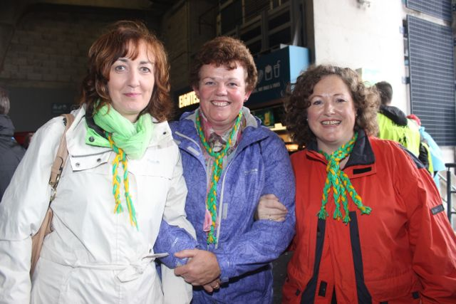 Breda Barry, Mary Sheehy and Juliette O'Brien, Tralee, at Croke Park for the Kerry matches on Sunday. Photo by Dermot Crean