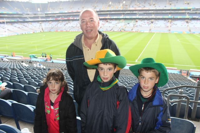 Noel Costello with Gráinne, Cormac and Cian Costello at Croke Park for the Kerry matches on Sunday. Photo by Dermot Crean